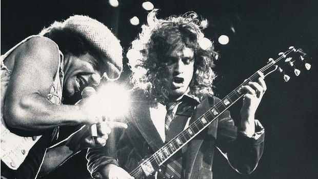 Singer Brian Johnson with Angus Young from AC/DC